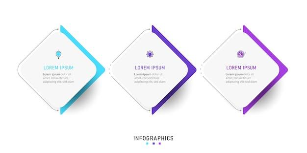 Modello di progettazione infografica con 3 opzioni o passaggi.