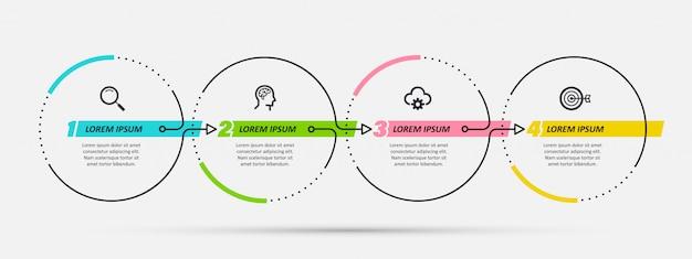 Modello di progettazione infografica con 4 opzioni o passaggi.
