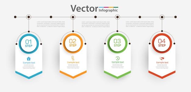 Modello di progettazione infografica con 4 passaggi