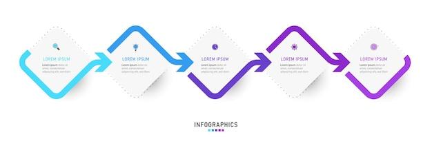 Modello di progettazione infografica con 5 opzioni o passaggi.