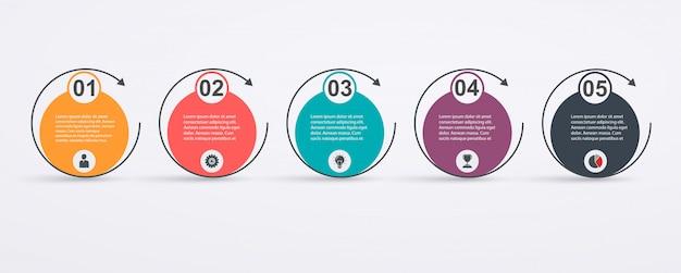 Modello di progettazione infografica con struttura a 5 fasi e frecce. concetto di successo aziendale, linee del grafico a torta.