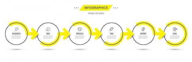 Modello di progettazione infografica con 6 opzioni o passaggi.