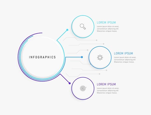 Modello di progettazione infografica con icone e 3 opzioni o passaggi.