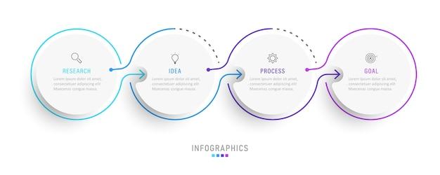 Modello di progettazione infografica con icone e 4 opzioni o passaggi.