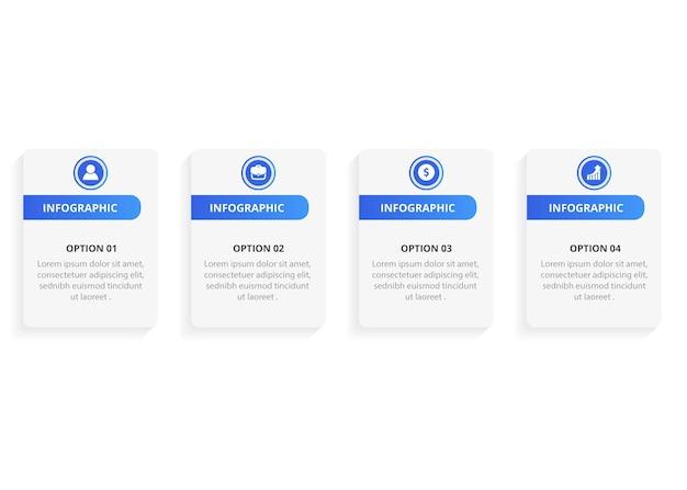 Modello di progettazione infografica con icone e opzioni o passaggi