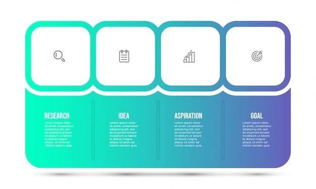 Modello struttura infografica con icone di marketing. concetto di business con 4 opzioni o passaggi.