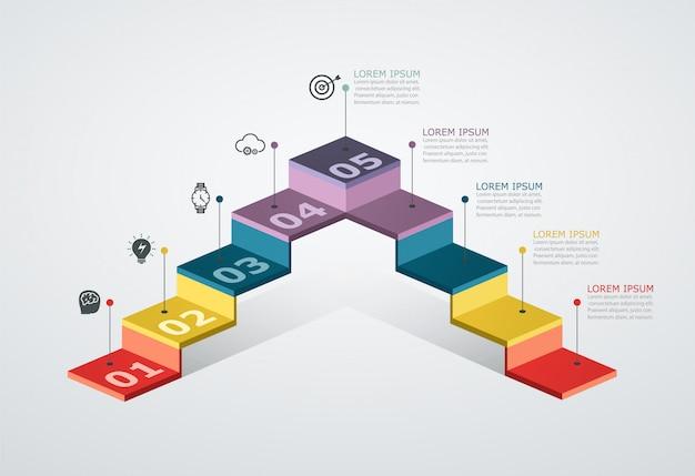 Modello di progettazione infografica con struttura a gradini. concetto di affari con 5 pezzi di opzioni.