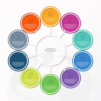Modello di progettazione infografica con icone di linea sottile e 10 opzioni, processi o passaggi.