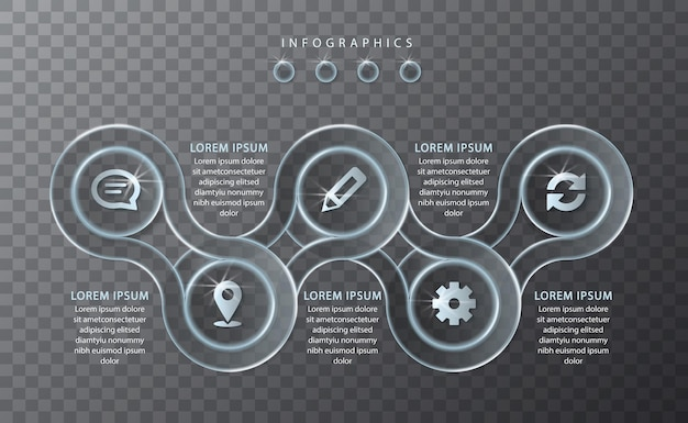 Design infografico vetro trasparente tondo catena telaio etichette e icone