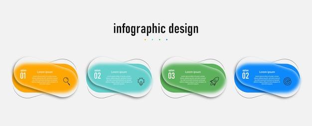 Modello di vetro trasparente di design infografico con 4 opzioni vettore premium