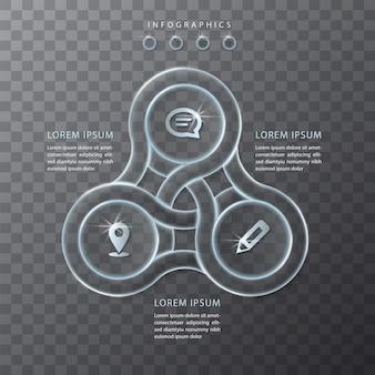 Modello di interfaccia utente di progettazione infografica vetro trasparente tondo catena telaio etichette e icone. ideale per layout flusso di lavoro banner presentazione concetto aziendale e diagramma di processo.