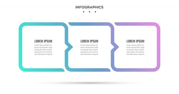 Progettazione infografica con 3 opzioni o passaggi. infografica per il concetto di business. Vettore Premium