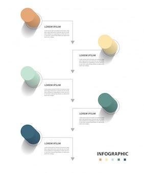 Progettazione infografica con 5 setp, concetto di business infografica, flusso, grafico, presentazione