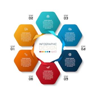 Design infografico con forme esagonali