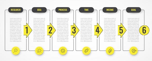 Progettazione infografica con icone e 6 opzioni o passaggi. infografica per il concetto di business.