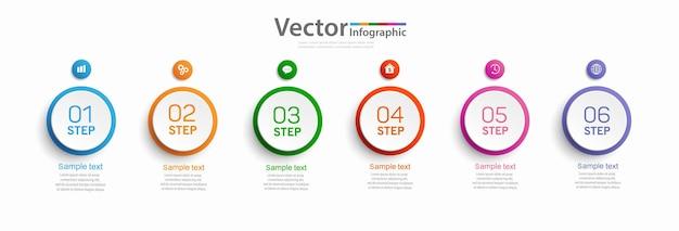 Design infografico con sei opzioni o passaggi