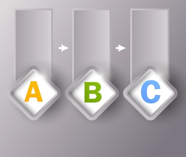 Progettazione infografica con quadrati e lettere