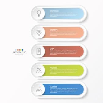 Progettazione infografica con icone a linee sottili e 5 opzioni o passaggi per infografiche, diagrammi di flusso, presentazioni, siti web, banner, materiali stampati. concetto di affari di infographics.