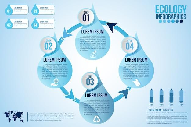 Gli elementi di design blu acqua eco infografica elaborano 4 passaggi o parti di opzioni con una goccia d'acqua