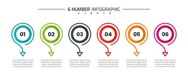 Modelli di progettazione di elementi infografici con 6 numeri