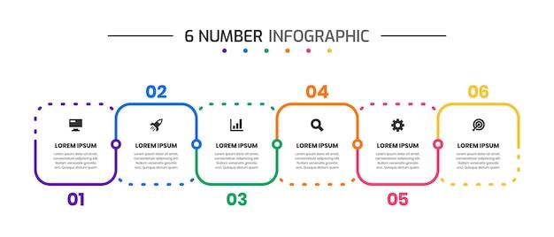 Modelli di progettazione di elementi infografici con icone e numero 6