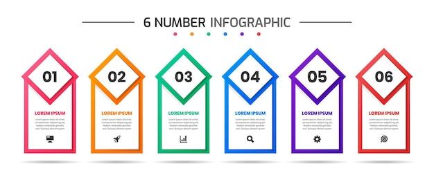 Modelli di progettazione di elementi infografici con icone e 6 numeri adatti per il diagramma di processo