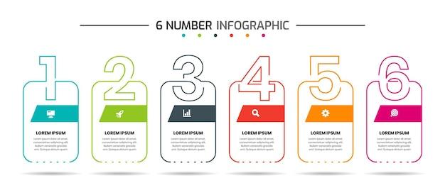 Modelli di progettazione di elementi infografici con icone e 6 numeri