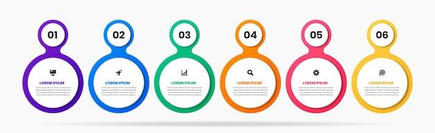 Modelli di progettazione elemento infografico con icone e 6 numeri