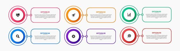 Modelli di progettazione di elementi infografici con icone e 6 opzioni