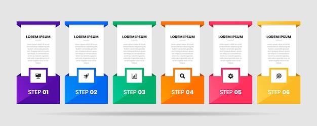 Modelli di progettazione di elementi infografici con icone e 6 passaggi