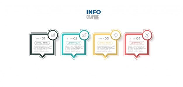 Elemento di infografica con 4 opzioni o passaggi. può essere utilizzato per processo, presentazione, diagramma, layout del flusso di lavoro, grafico informativo, web design.