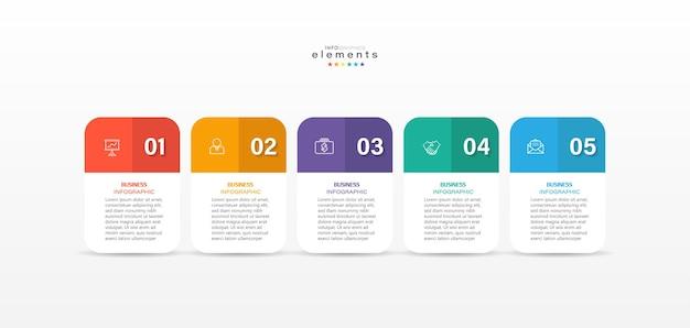 Elemento di infografica con icone e 5 opzioni o passaggi
