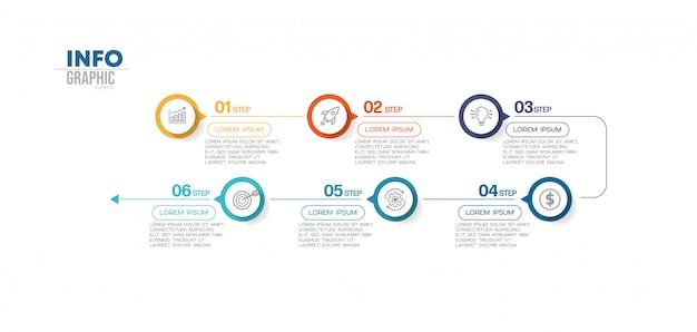Elemento di infografica con icone e 6 opzioni o passaggi. può essere utilizzato per processo, presentazione, diagramma, layout del flusso di lavoro, grafico informativo, web design.