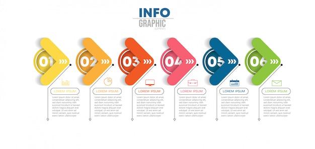 Elemento di infografica con icone e 6 opzioni o passaggi. può essere utilizzato per processo, presentazione, diagramma, layout del flusso di lavoro, grafico delle informazioni