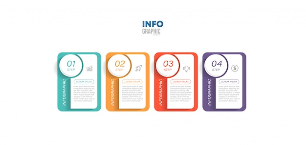 Elemento di infografica con icone e quattro opzioni o passaggi. può essere utilizzato per processo, presentazione, diagramma, layout del flusso di lavoro, grafico informativo, web design.