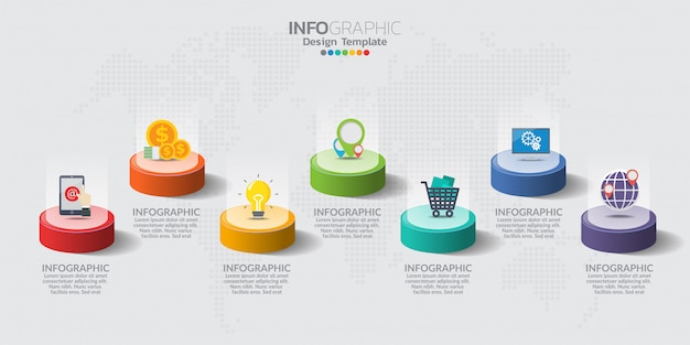Elementi di infografica per contenuti con icone.