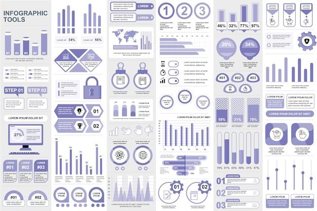 Elementi di infografica visualizzazione dati grafica vettoriale informazioni di progettazione
