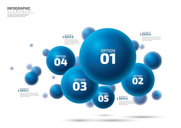 Progettazione di elementi infografici con 5 opzioni o infografica di passaggi per il concetto di business
