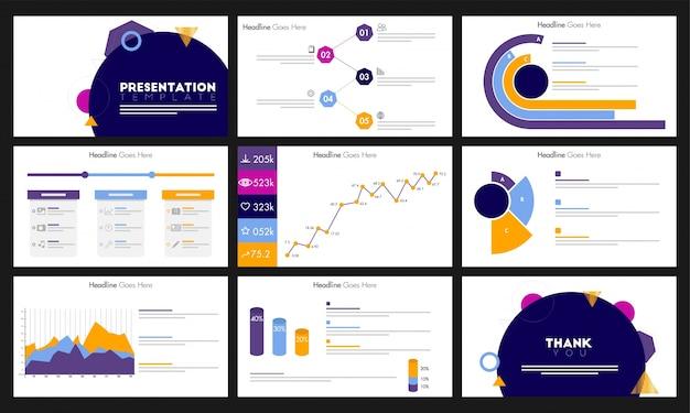 Elementi infografici per il modello di presentazione, brochure.