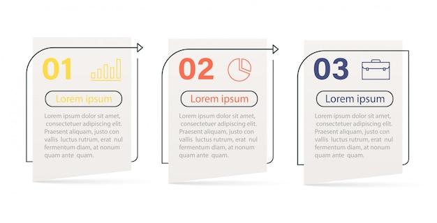 Elementi di infografica, cronologia dello sviluppo del business progressivo con icone e opzioni in 3 passaggi.