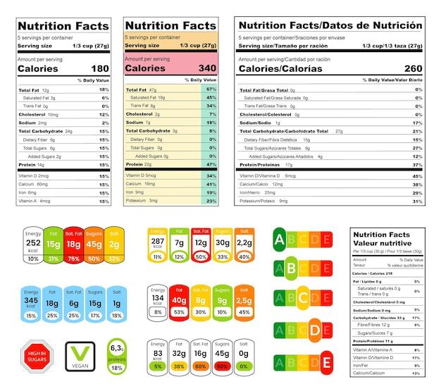 Infografica nutrizione sana e set di composizione alimentare. etichetta composta di fatti nutrizionali, micronutrienti in compresse e tag colorati illustrazione vettoriale isolati su sfondo bianco