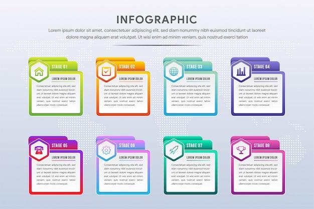 Design esagonale infografico con icone e 8 opzioni o passaggi. infografica per il concetto di business.