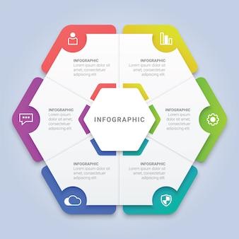 Modello di esagono infografica con 6 opzioni per il layout del flusso di lavoro, diagramma, relazione annuale, web design