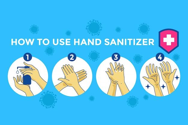 Illustrazione di infographic di come utilizzare correttamente disinfettante per le mani