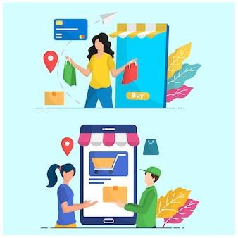Illustrazione infografica persone attività acquirente e ordine di consegna corriere transazione negozio online