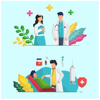 Infografica illustrazione persone attività medico e infermiere al lavoro in clinica o ospedale