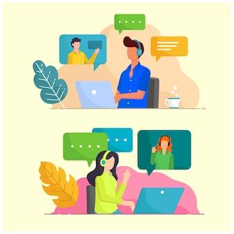 Illustrazione infografica persone attività servizio clienti online assistenza al lavoro