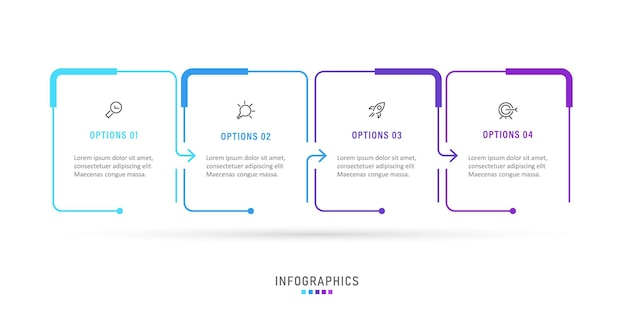 Modello di progettazione di etichette infografiche con 4 opzioni o passaggi.