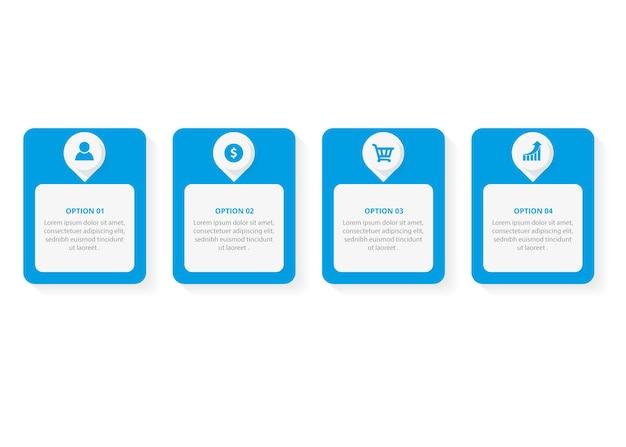 Modello di progettazione etichetta infografica con icone e 4 opzioni o passaggi