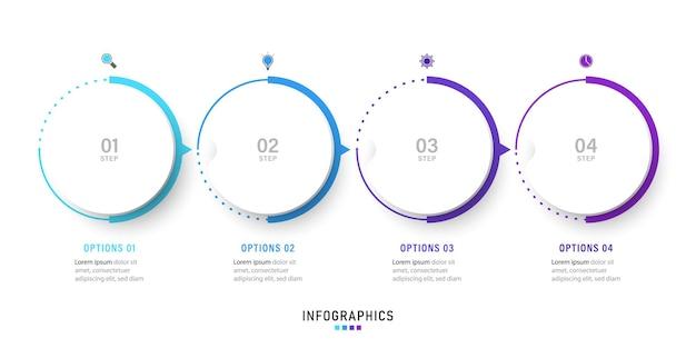 Modello di progettazione di etichette infografiche con icone e 4 opzioni o passaggi